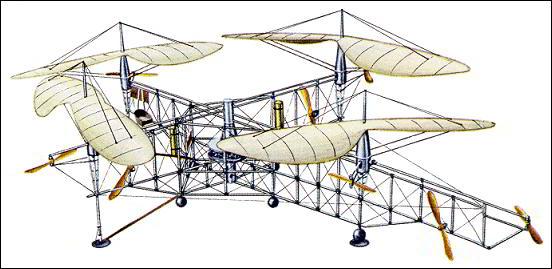Первый мультироторный квадрокоптер вертолет